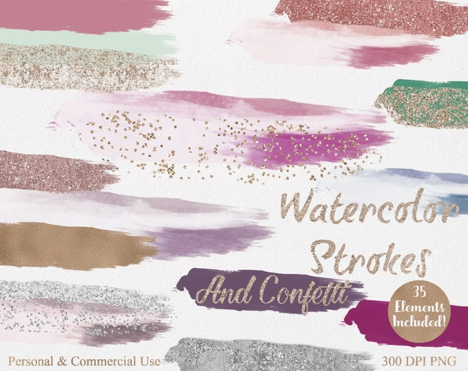 WATERCOLOR & ROSE GOLD Confetti Strokes Clipart Commercial Use Clipart 35 Watercolor Brush Splotch Mint Blush Gold Watercolor Logo Clip Art