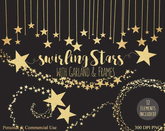 GOLD FOIL STARS Clipart Commercial Use Clip Art Metallic Gold Stars Banner Border Gold Star Swirls Bunting Garland Frame Clipart Graphics