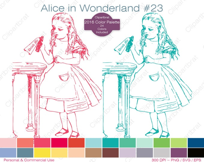 ALICE IN WONDERLAND Clipart Commercial Use Clipart Drink Me Graphic 2016 24 Color Palette John Tenniel Digital Sticker Vector Png Eps Svg