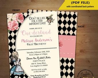 Wonderland birthday Invitation vintage Alice One-derland first birthday invite Instant Download YOU EDIT TEXT and print yourself 5331