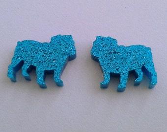 glitter bull dog earrings