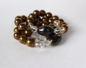 Stretch Stack Bracelets - Dark Gold and Brown Bead Bracelet, Beaded Stretch Bracelet, Stackable Bracelet, Black Bracelet, Brown Bracelet