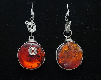 Wire Wrapped Glass Earrings 054