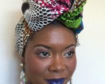 Clearance Sale African Print Headwrap, African Print Tieless Head Wrap,  African Wedding Head Wrap, Ankara Fabric, Africa Turban, Africa