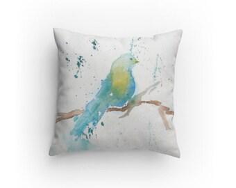 Decorative Pillow, Throw Pillow, Bird Design with Pillow Insert, Dorm, Living Room Decor