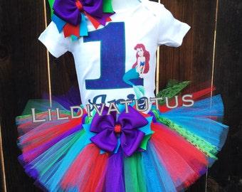 The little mermaid tutu set / Ariel tutu set / Ariel birthday shirt / Mermaid birthday tutu / Ariel birthday outfit / Ariel tutu outfit