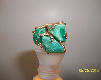 Emerald Ring [3 big uncut emeralds], 18K gold, from Bogota Colombia