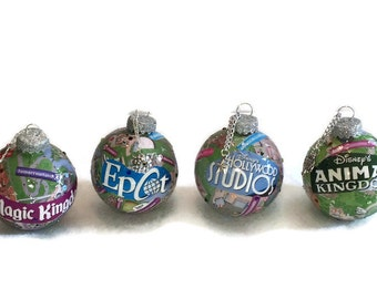 Disney Christmas Ornament Authentic park maps Magic Kingdom Epcot Hollywood Studios Animal Kingdom