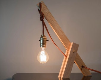 Modular luminaire wood / Wooden modular lamp / 'The Simplette gold'