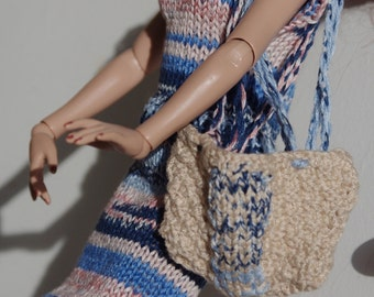 Ellowyne Wilde or BJD 40 cm: blue cotton dress and his bag