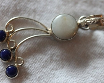 Sterling silver white mother of pearl shell blue stone dangle pendant