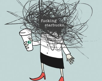 Starbuckin' Illustration Graphic Art Print