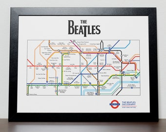 The Beatles Tube/Subway Discograpy Poster