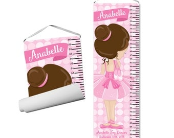 Ballet Personalized Growth Chart - Girl Ballet Dancer, Pink Bokeh Polka Dots, Pink Ballerina Growth Chart - Kids Personalized Gift under 50