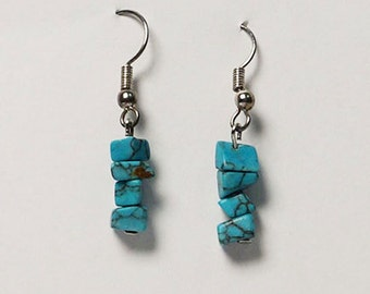 Dazzling Turquoise Crystal Dangling Silver Earring