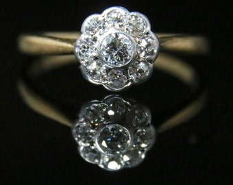Antique Edwardian Diamond Cluster Ring - 18ct Gold