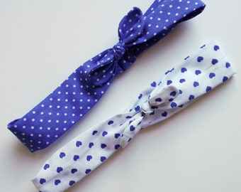 """Baby girls and girls hair ties """"dots and blue hearts"""""""