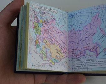 Vintage Little book Pocket atlas Vintage maps Collectible Scrapbooking supplies Soviet maps Soviet atlas Geographical Atlas of USSR
