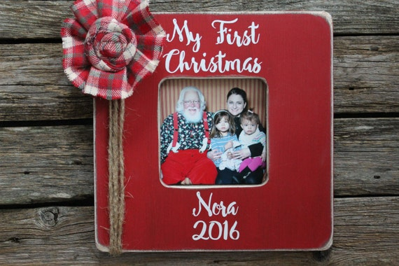 My First Christmas Red Picture Frame Baby S First