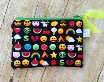 Coin purse /coin pouch/ small zipper pouch/ colorful emoji