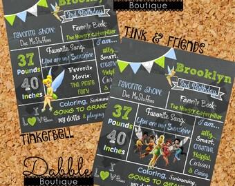 Tinkerbell Birthday Chalkboard / 1st birthday chalkboard / 2nd birthday chalkboard/ Fairy Fairies Birthday