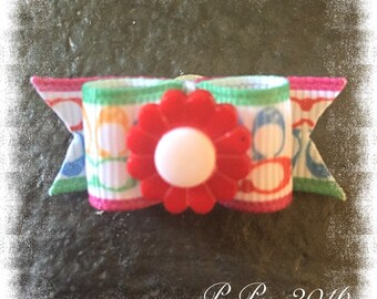 "5/8"" x 1"" 1/2"" Colorful Top Knot Dog Bow"