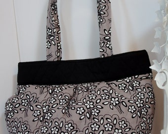 Purse gray purse grey black white quilted gray grey black white shoulder bag charcoal tote shoulder bag