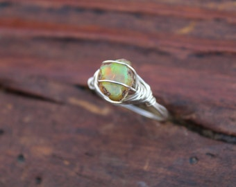 Flashy Rough Opal Wire Wrapped SIZE 9 Ring in Sterling Silver