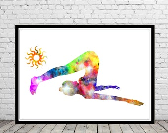 Yoga pose, watercolor Yoga pose, Yoga pose print, Room Decor, Poster,print (1874b)