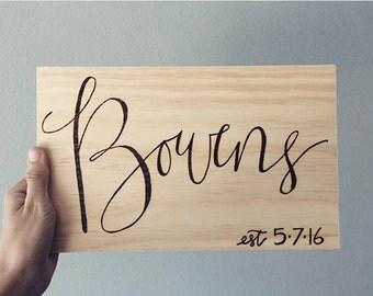 Custom name sign, woodburned sign, last name sign