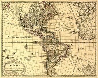 Map of Western Hemisphere 1780.  Carte d'Amerique dressée pour l'usage du Roy.  Vintage reproduction print.