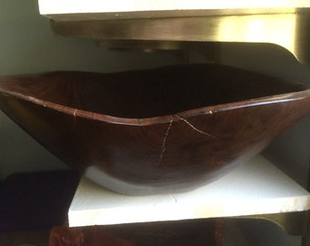 oblong hand carved walnut bowl-not turned