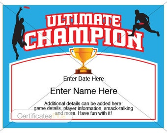 Ultimate Certificate, Ultimate Disc award, Ultimate Frisbee certificates, ultimate disc disc, ultimate disc bag, ultimate disc trophy