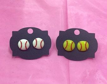 Baseball Earrings - Softball Earrings - Baseball Jewelry - Softball Jewelry - Baseball Mom - Softball Mom - Personalized Stud Earrings