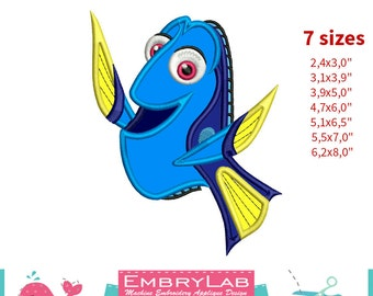 Applique Dory Fish. Finding Dory. Machine Embroidery Applique Design. Instant Digital Download (16209)