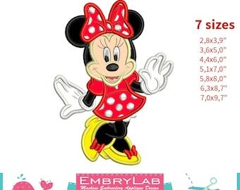 Applique Minnie Mouse. 2 Versions. Machine Embroidery Applique Design. Instant Digital Download (16250)