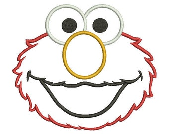 6 sizes - Elmo Applique Design, Elmo Face Applique, Sesame Street Machine Embroidery Design, instant download pattern