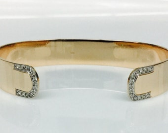 0.23CTW 18k rose gold Cuff with White Diamond