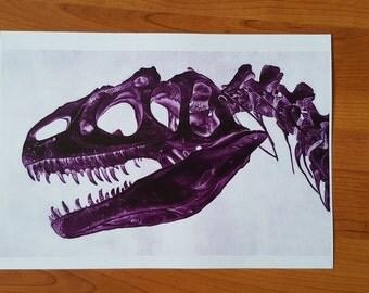 Ultra Violet realistic T-rex skull