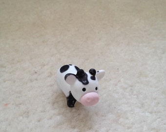 black and white one of a kind customized cow eraser