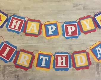 Circus themed garland  Birthday Party Decorations   Baby Shower Decorations   kids birthday banner   personalized banner   carnival birthday