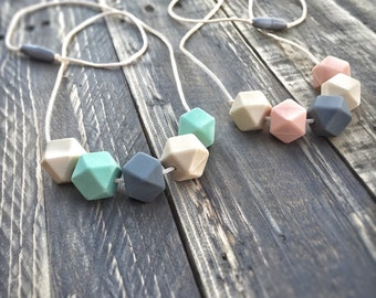 Silicone Bead Baby Teething Jewelry / Nursing Necklace Mom and Baby Shower Gift - New Mom Gift - Teether Toy - Soother - Teething Necklace