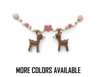 Stroller toy with crochet deer