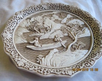 wall display plate, ivory dynasty,1982 Arnalt imports,Asian-oriental 3D carved cinnabar collectable