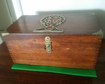 Vintage Oriental Wooden Box with Brass Fittings