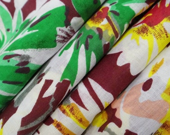 """White Color Pure Cotton Floral Printed Pattern Indian Fabric 43"""" Wide Sewing Crafting Drape Dress Making Fabric Material By The Yard ZBC583"""