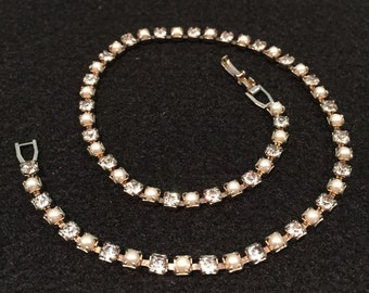 Rhinestone & Faux Pearl Necklace, Prong Set - 14 inches - CA 1940's - 1950's