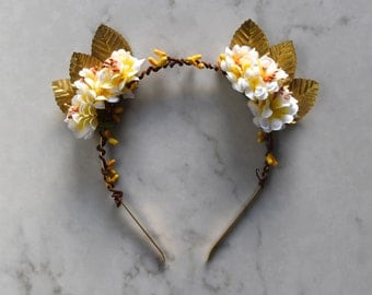 Gold Leaf, White & Yellow Flowers, Headpiece / Fascinator - Gold Headband