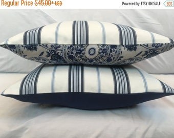 Blue Ticking Pillow, Vintage Style Blue White Striped Decorative Pillow Cover Throw Pillows French Country Cottage Decor Nautical 9 Sizes