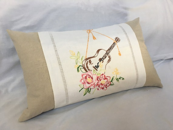 Guitar Pillow Musical Decor Embroidered Repurposed Linen